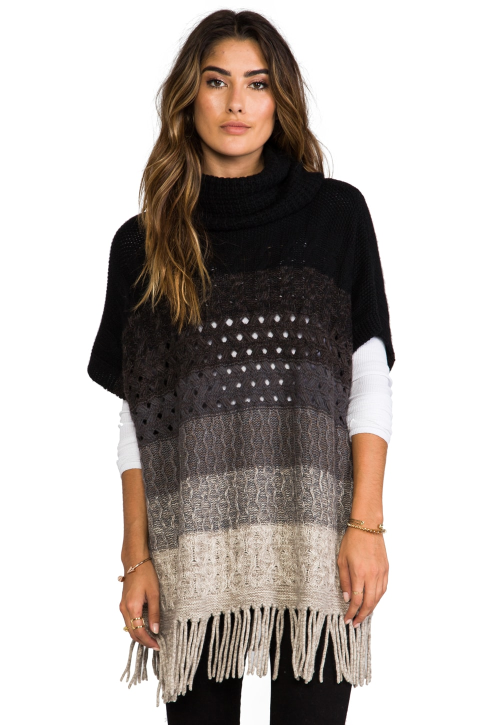 Autumn Cashmere Ombre Poncho in Neutral Combo