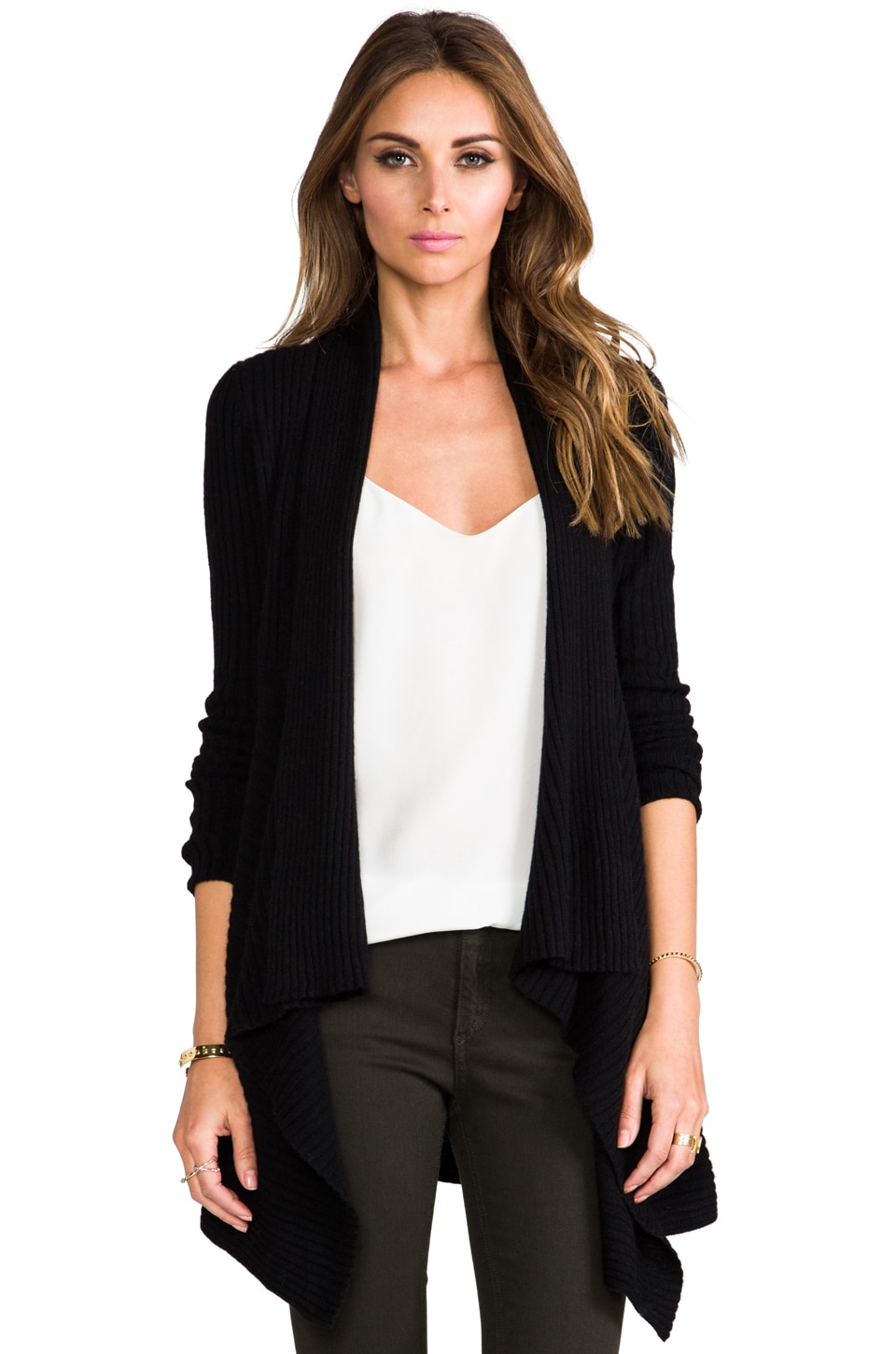 Autumn Cashmere Rib Drape Cardigan in Black