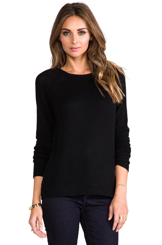 Autumn Cashmere Boyfriend Raglan w/ Side Zips in Black