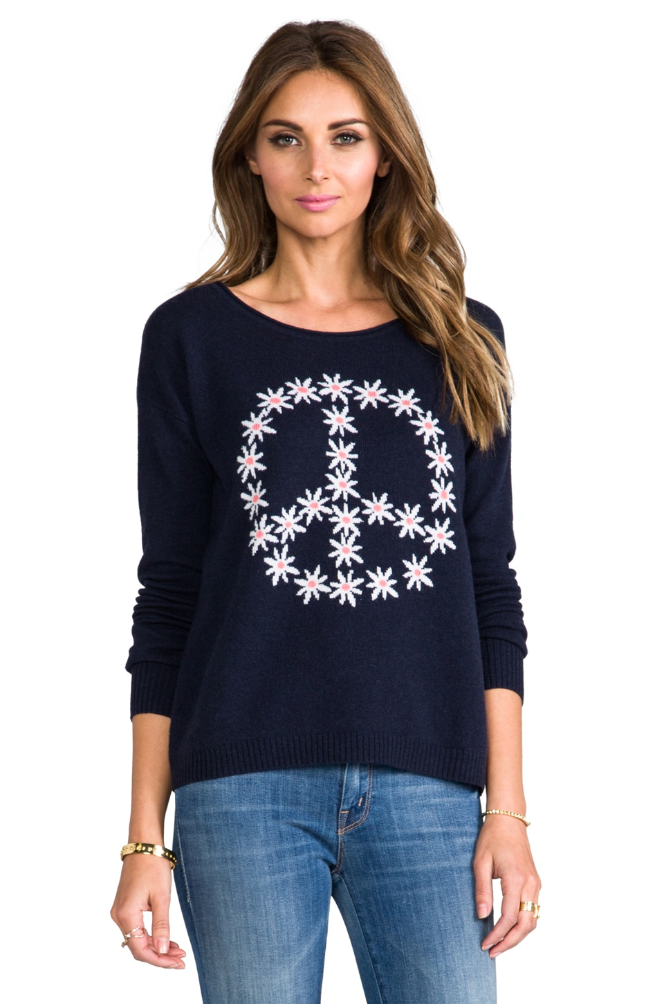 Autumn Cashmere Flower Peace Boxy Crew Neck Pullover in Navy Combo