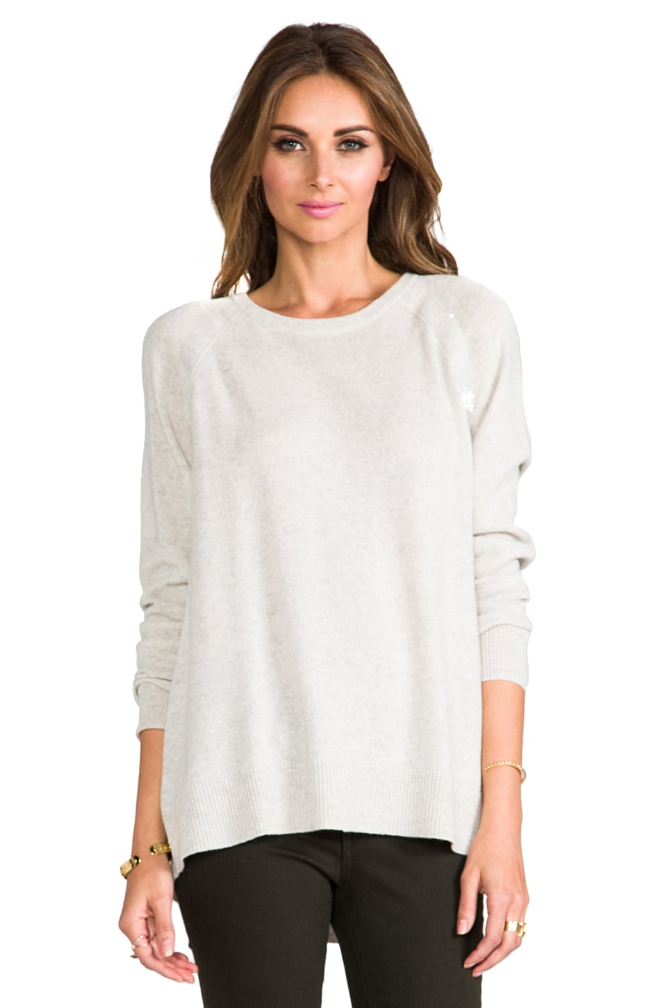 Autumn Cashmere Pleat Back Sequin Raglan Crew in Hemp