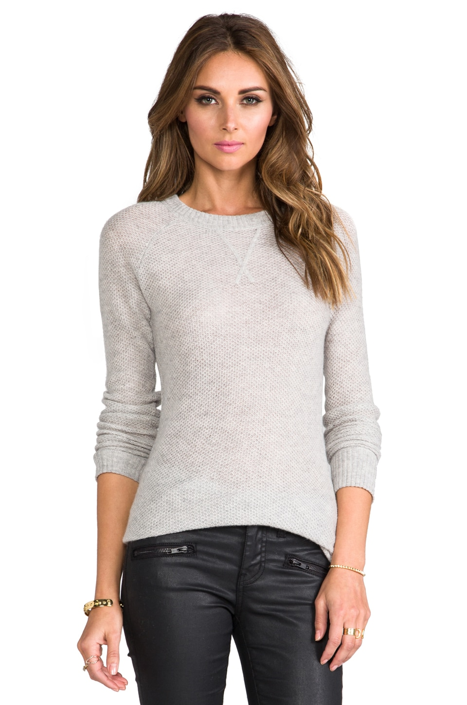 Autumn Cashmere Honeycomb Stitch Crew Neck Pullover in Fog