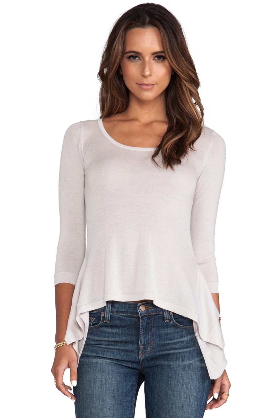 Autumn Cashmere Peplum Back Pullover in Sand Dollar