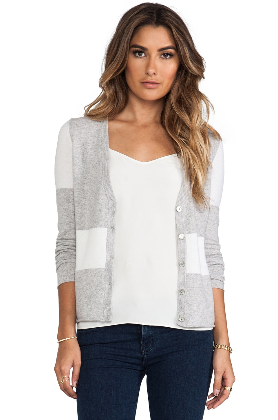 Autumn Cashmere Color Block V-Neck Cardigan in Fog & White
