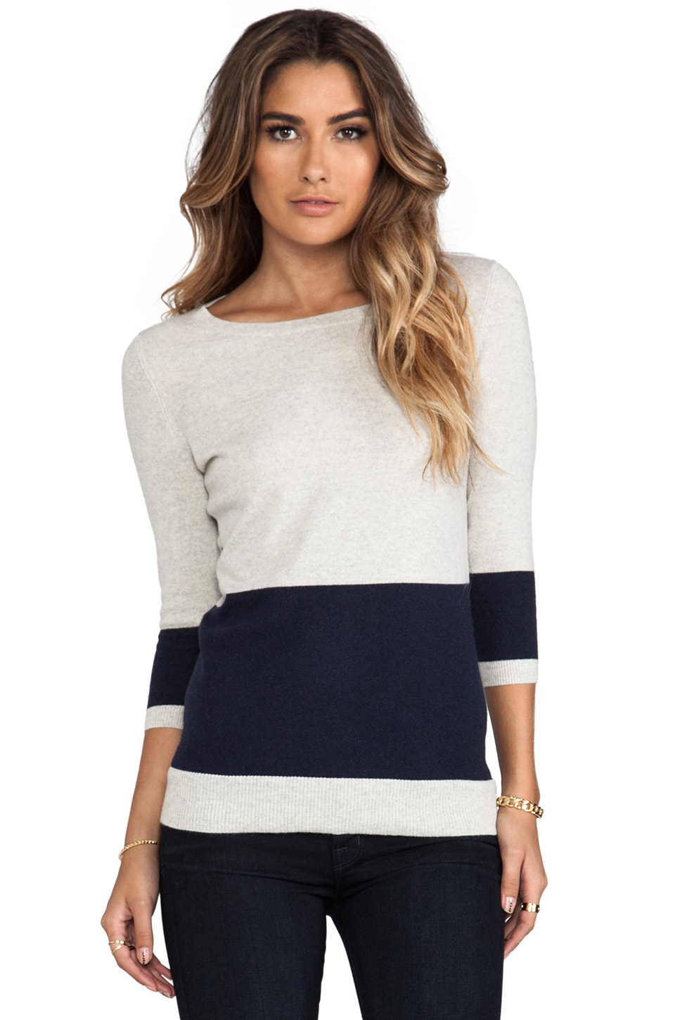 Autumn Cashmere Color Block Striped Back Boat Neck Sweater in Hemp & Navy
