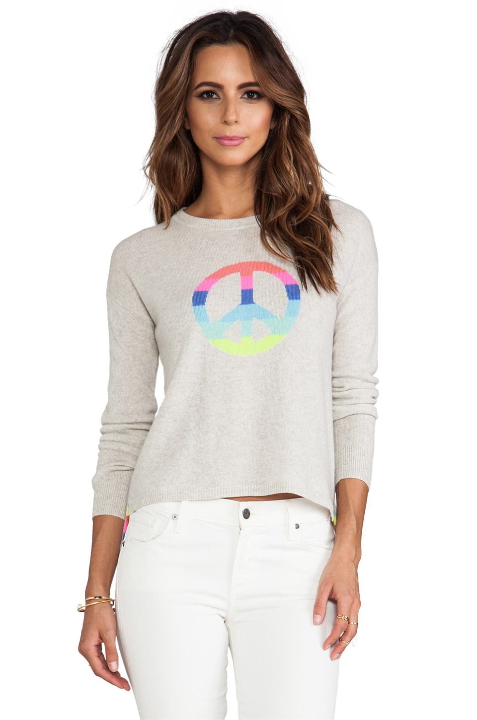 Autumn Cashmere Hi Lo Rainbow Peace Pullover in Hemp Multi