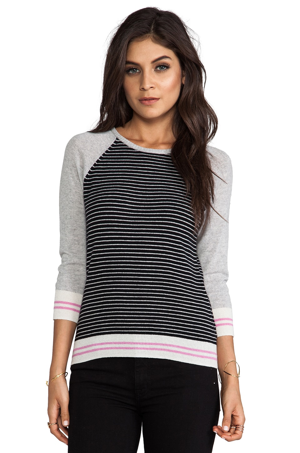 Autumn Cashmere Striped Zip Back Sweater in Black Combo