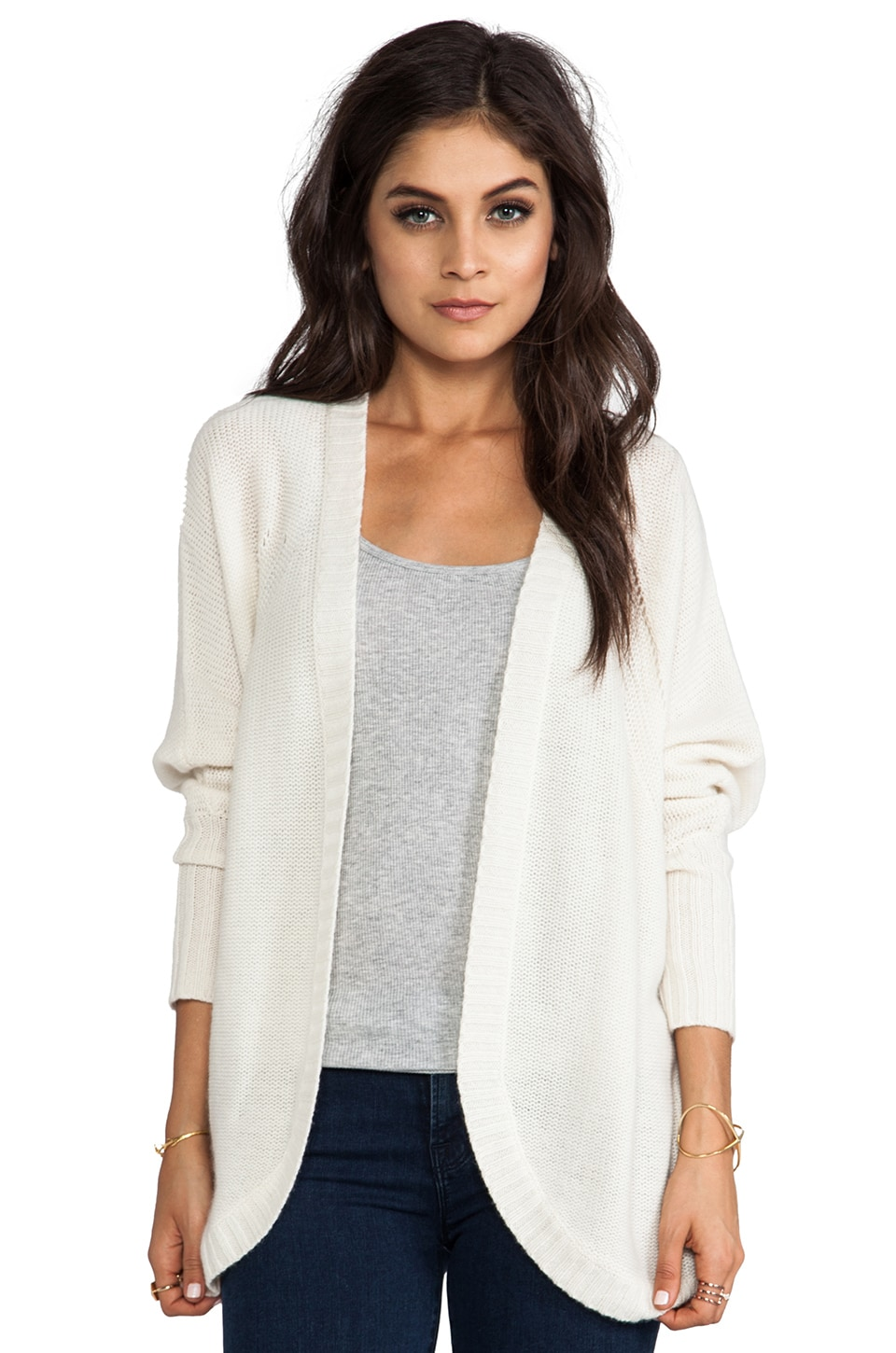 Autumn Cashmere Open Cocoon Cardigan in Milk