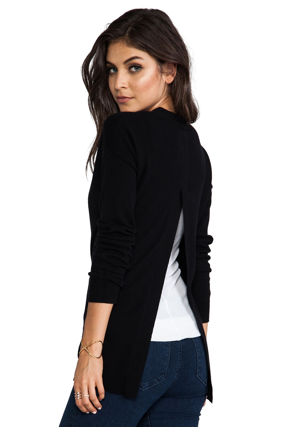 Autumn Cashmere Hi Lo Open Back Boyfriend Cardigan in Black