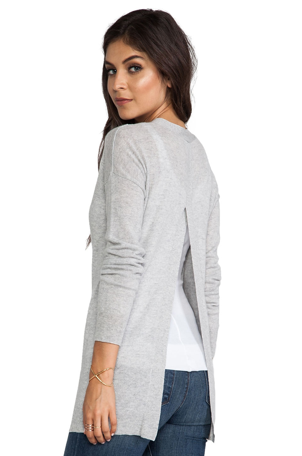 Autumn Cashmere Hi Lo Open Back Boyfriend Cardigan in Fog