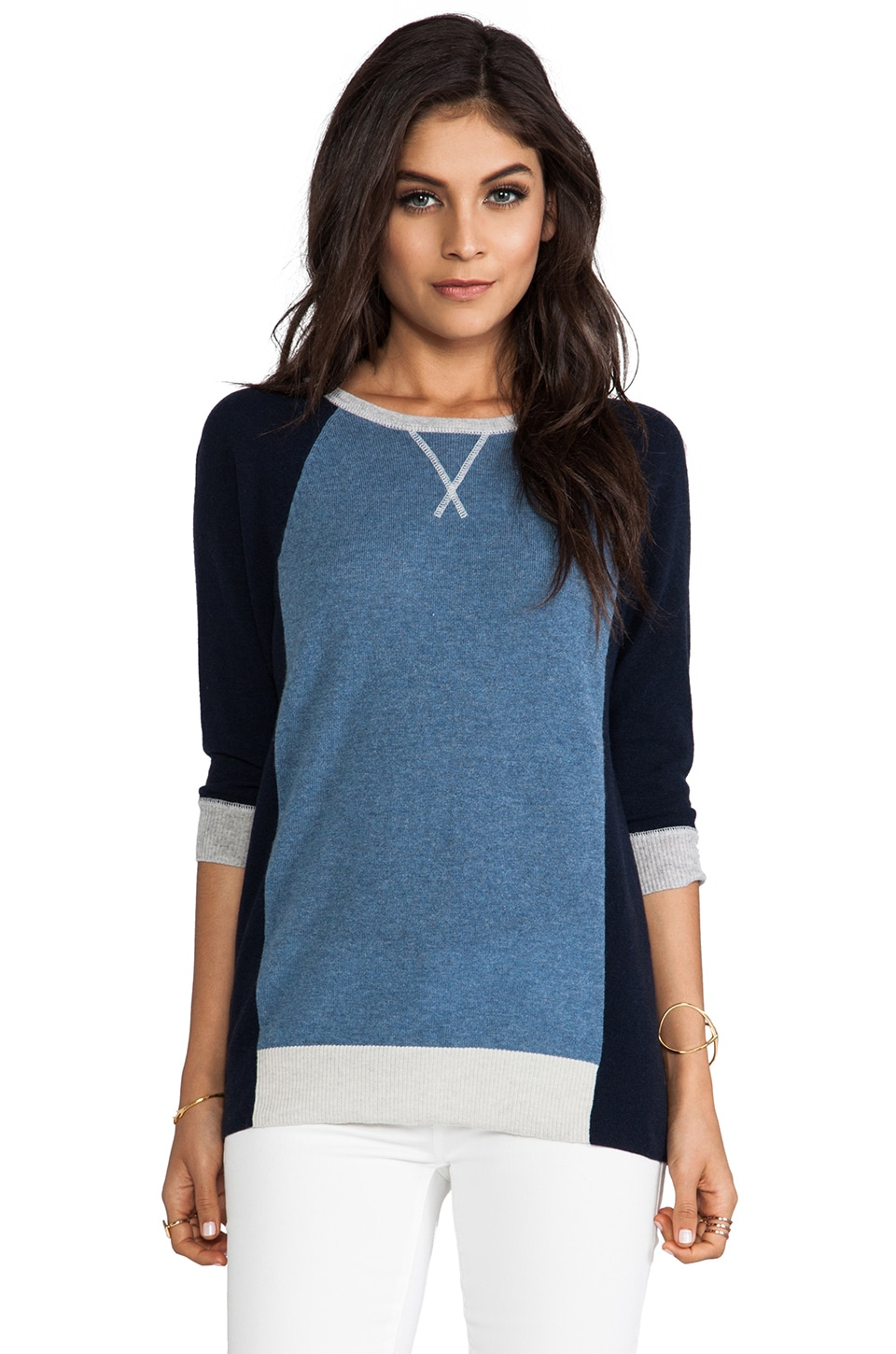 Autumn Cashmere Color Block Sweater in Navy Combo