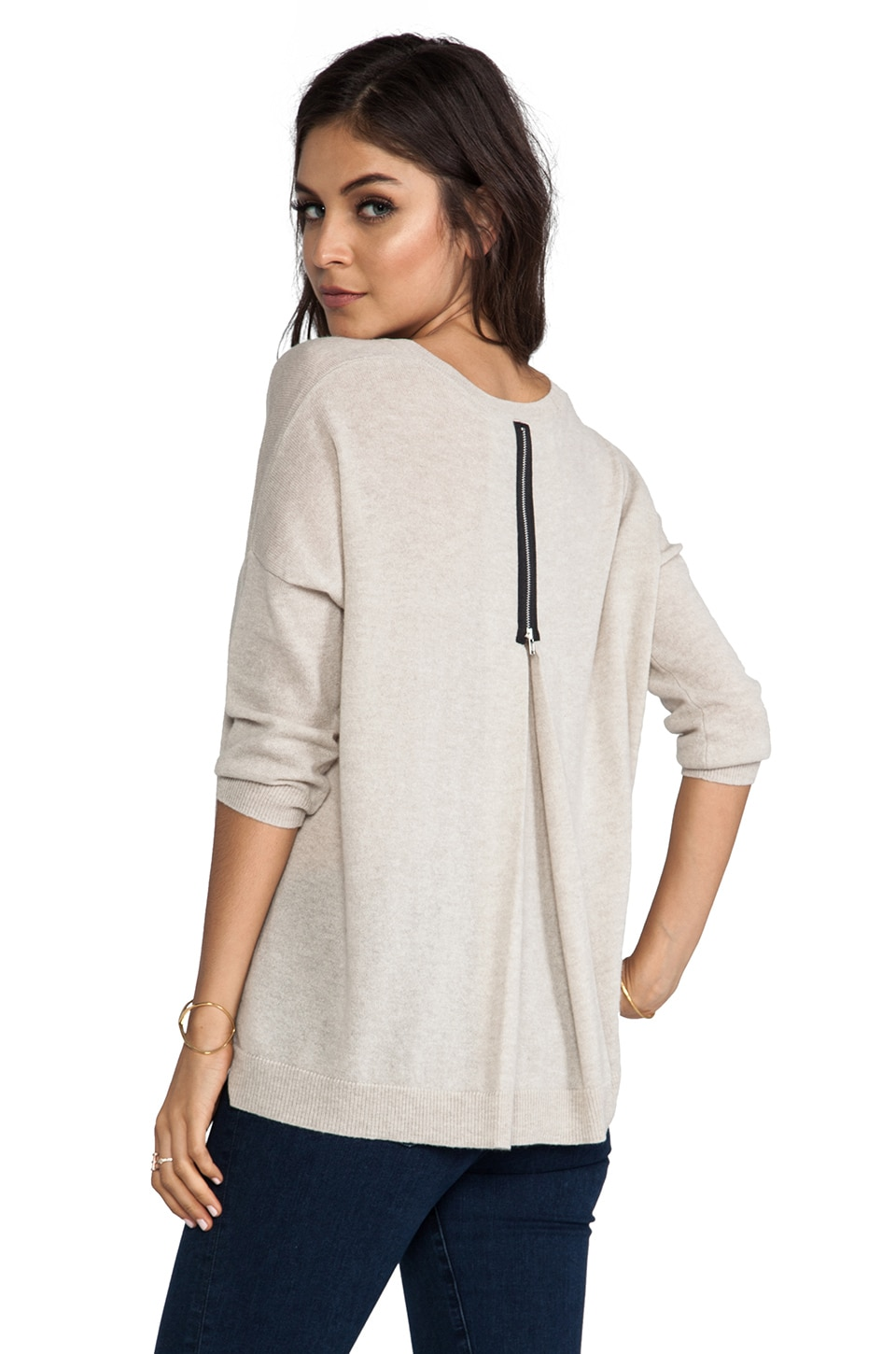 Autumn Cashmere 3/4 Sleeve Zipper Back Sweater in Beachwood
