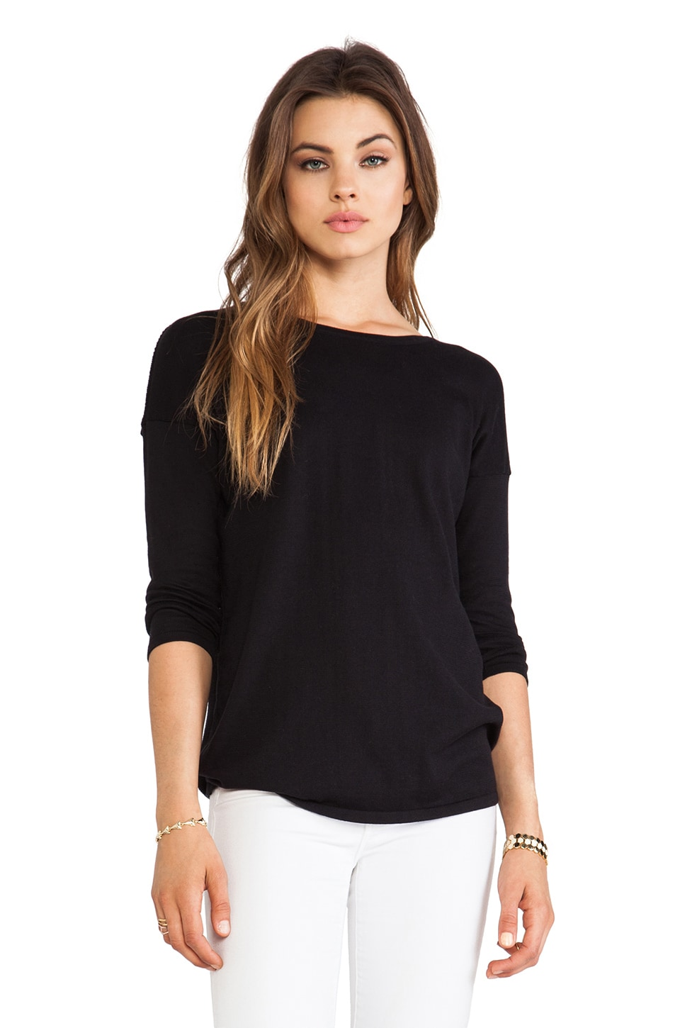 Autumn Cashmere Mesh Skeleton Back Sweater in Black