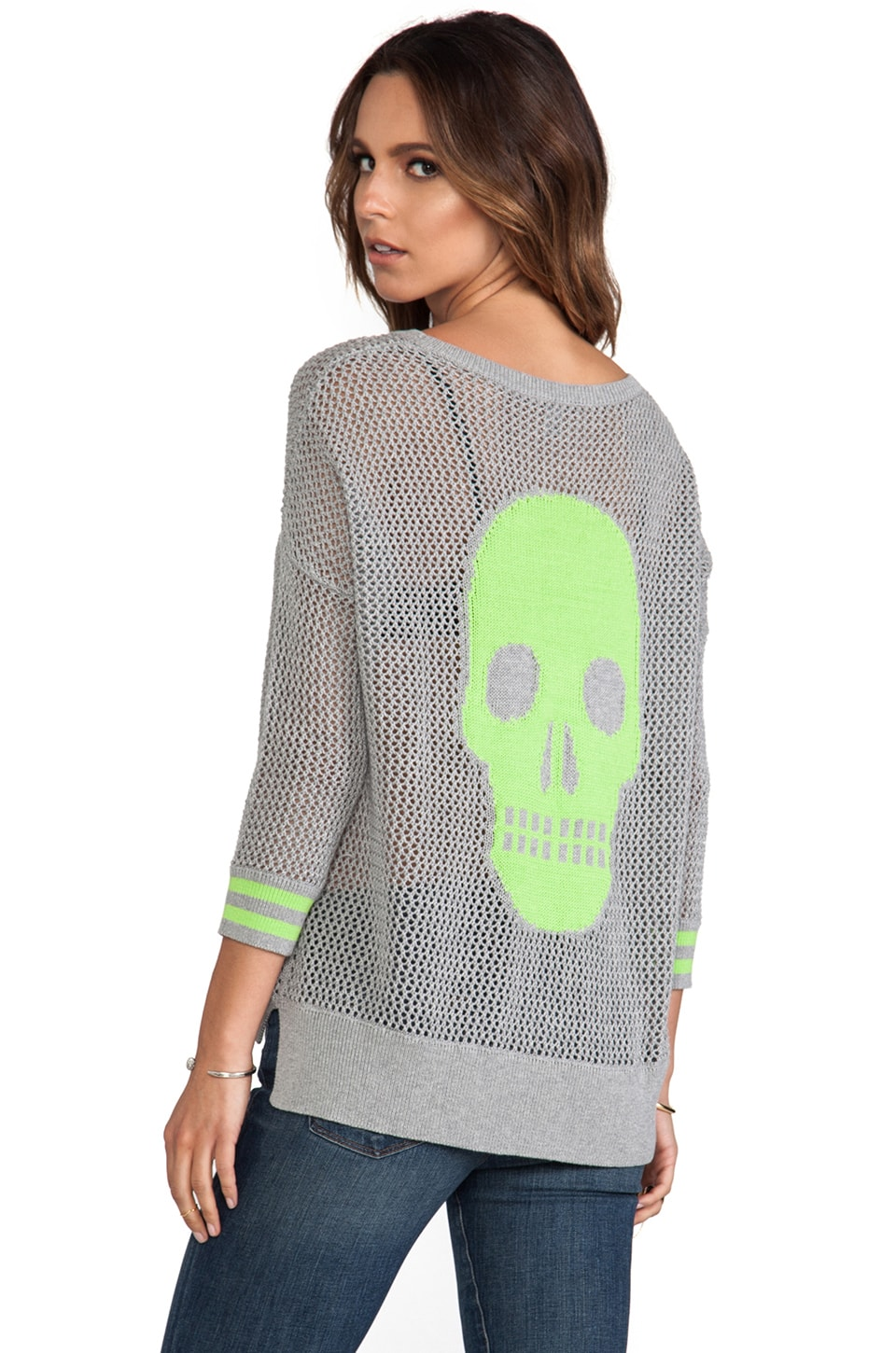 Autumn Cashmere Mesh Skull Sweater in Sweatshirt & Lime Drop