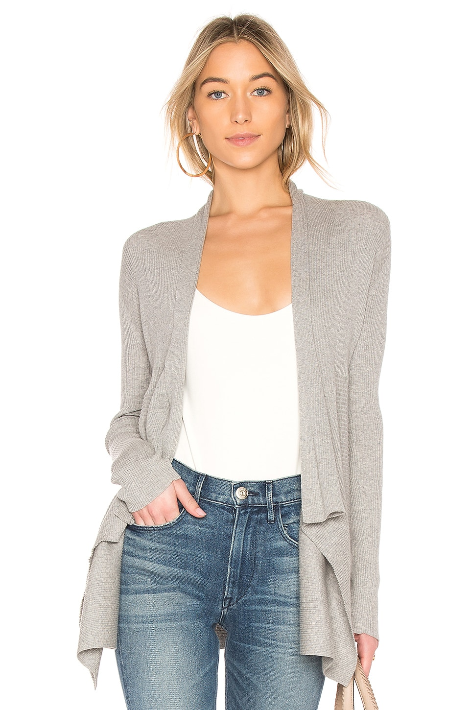 Autumn Cashmere Ribbed Drape Cardigan in Sweatshirt