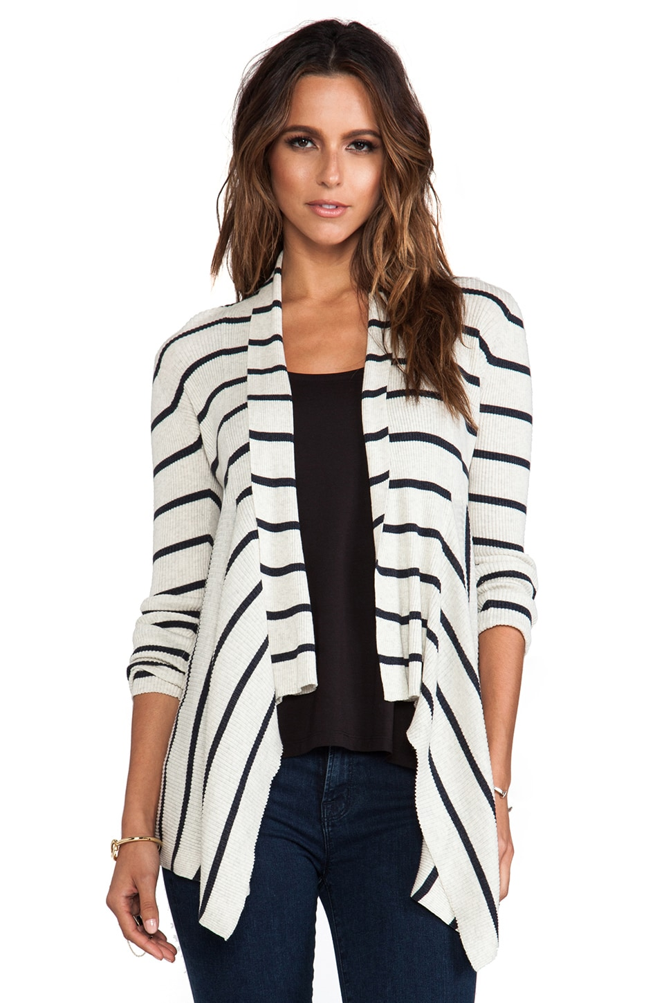 Autumn Cashmere Striped Ribbed Drape Cardigan in Hemp & Dungaree