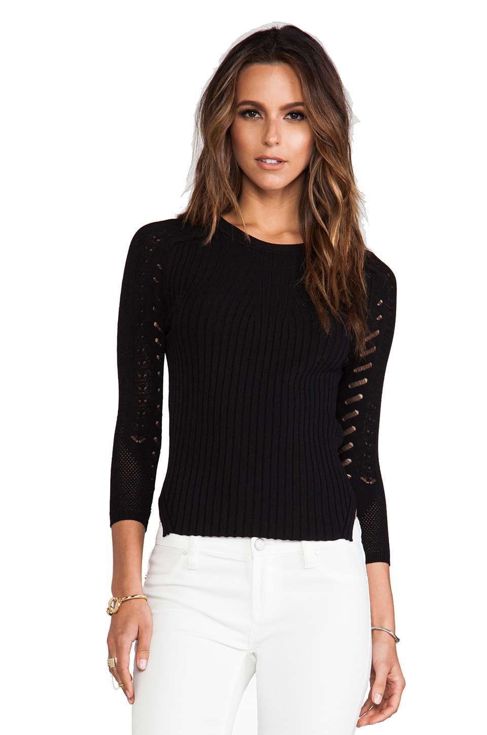 Autumn Cashmere Curved Hem Sweater in Black