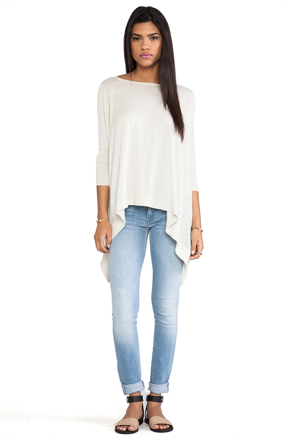 Autumn Cashmere Hi Low Sweater in Hemp