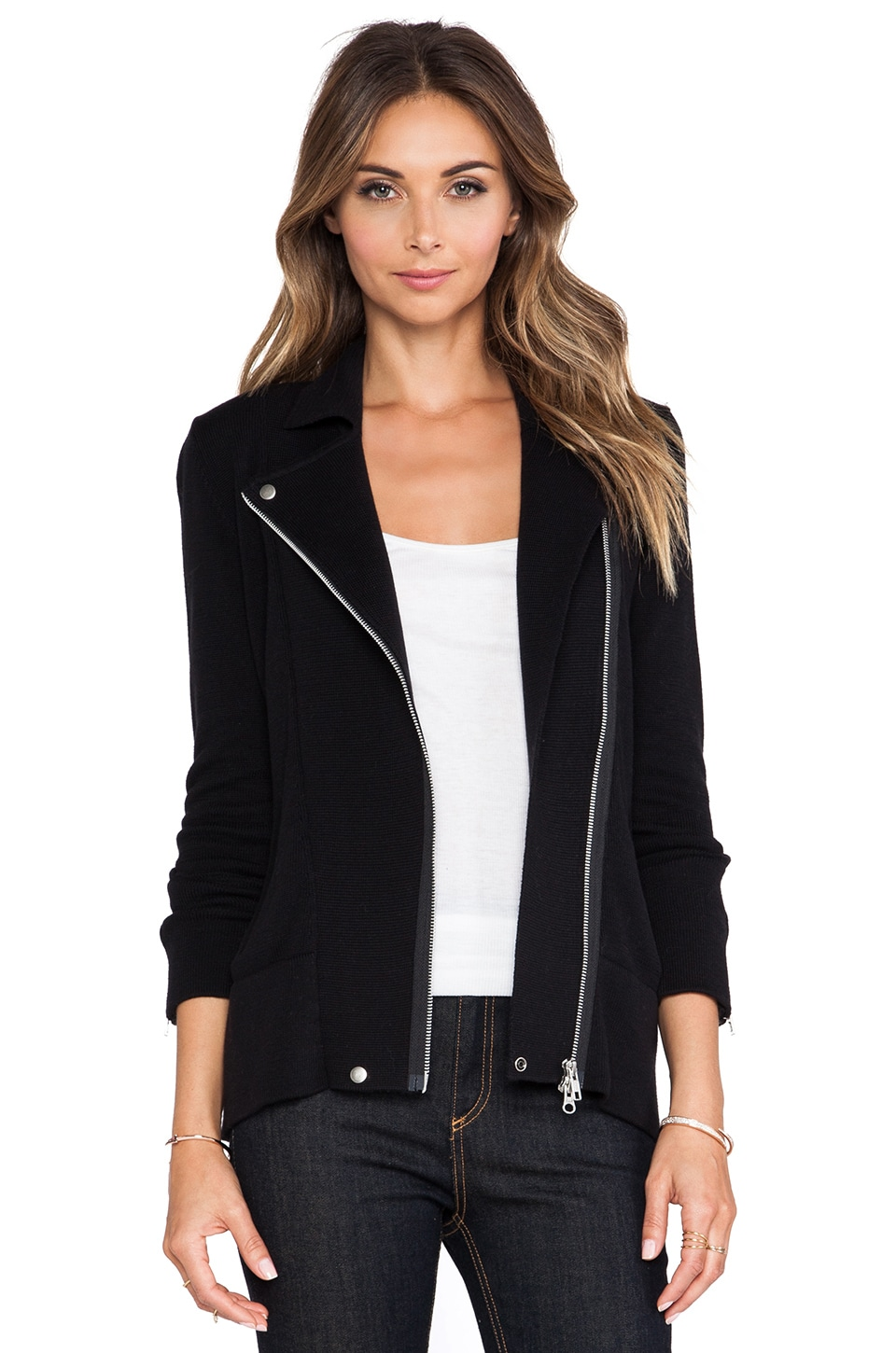 Autumn Cashmere Knit Motorcycle Jacket in Black