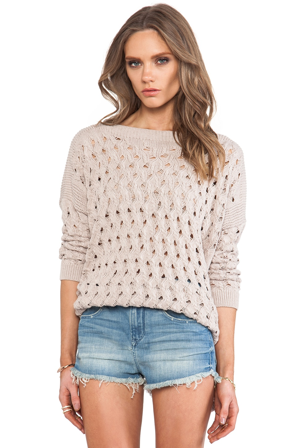 Autumn Cashmere Open Stitch Hi Low Boatneck Sweater in Beech