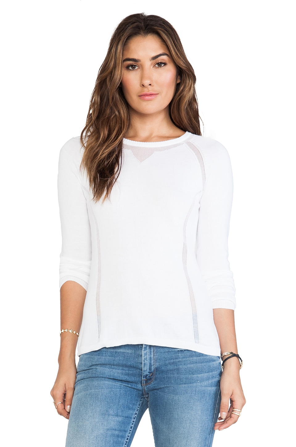 Autumn Cashmere Sheer Athletic Crew Neck Sweater in Bleach White