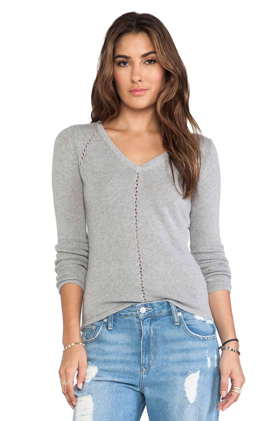Autumn Cashmere V Neck Zig Zag Back Sweater in Sweatshirt