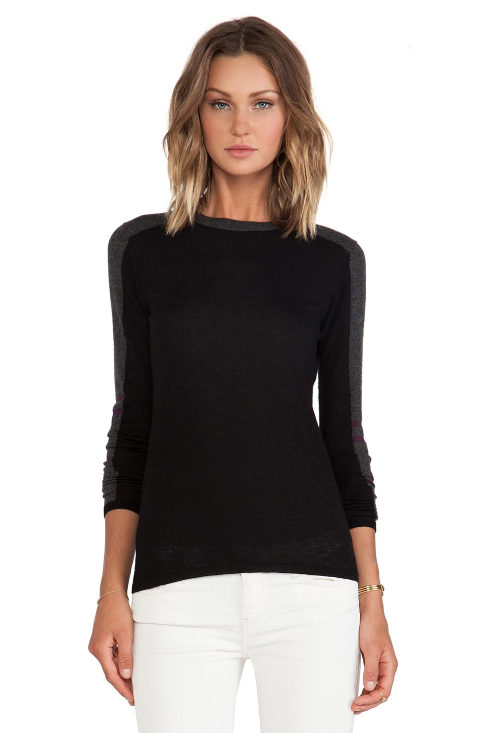Autumn Cashmere Athletic Crew Sweater in Black Combo