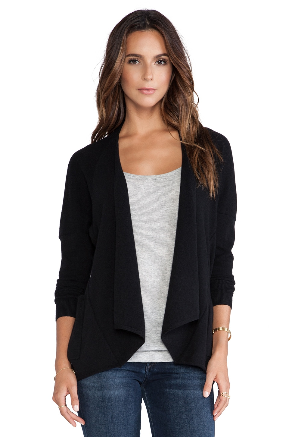 Autumn Cashmere Drape with Pocket Sweater in Black