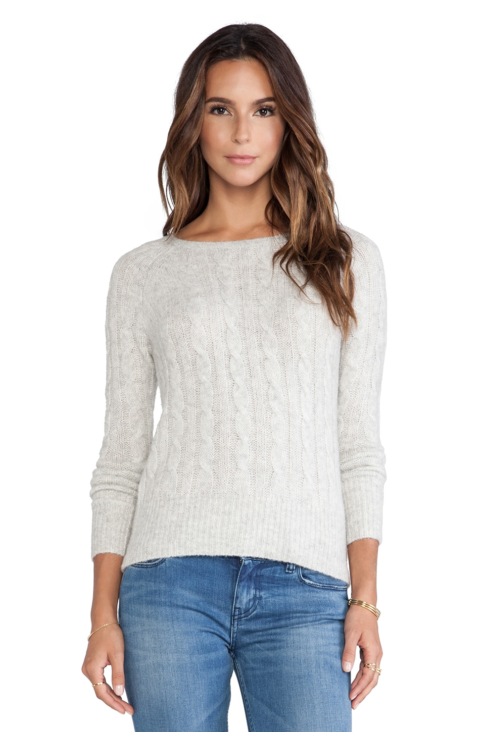Autumn Cashmere Cable Crew Sweater in Mist
