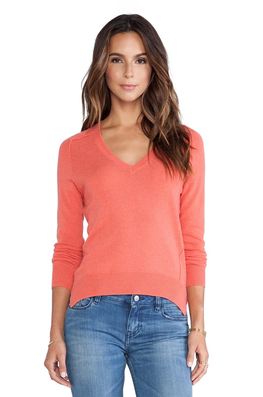 Autumn Cashmere Carved Hem Sweater in Blood Orange