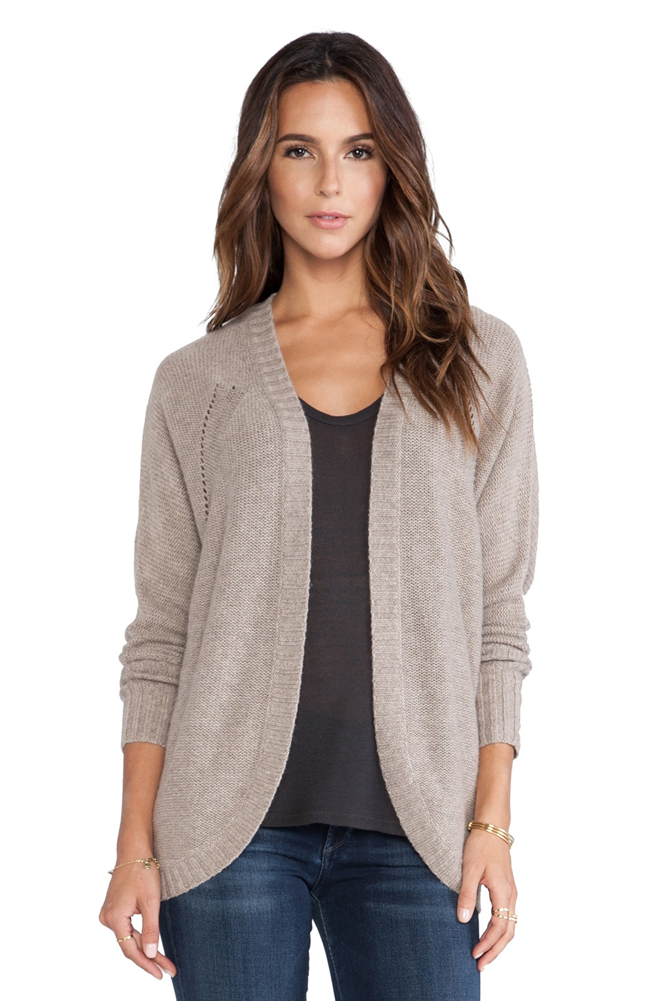 Autumn Cashmere Open Cocoon Duster Sweater in Stone