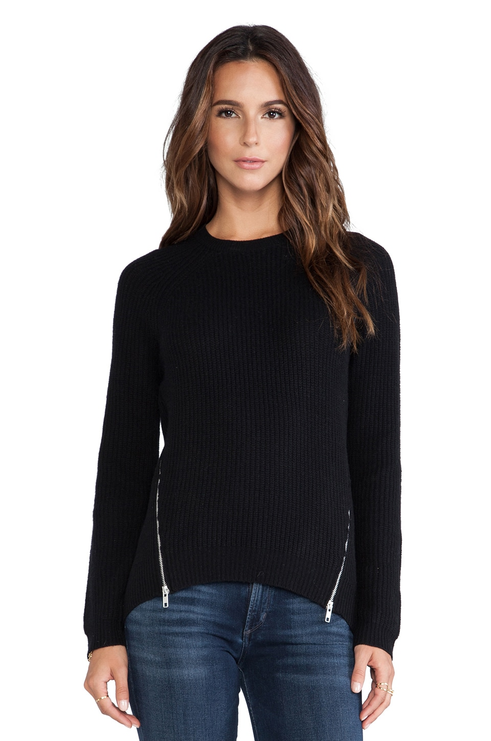 Autumn Cashmere Shaker Stitch Raglan in Black