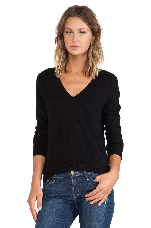 Autumn Cashmere Carved Hem Sweater in Black