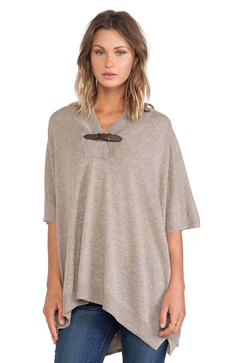 Autumn Cashmere Buckle Poncho in Stone