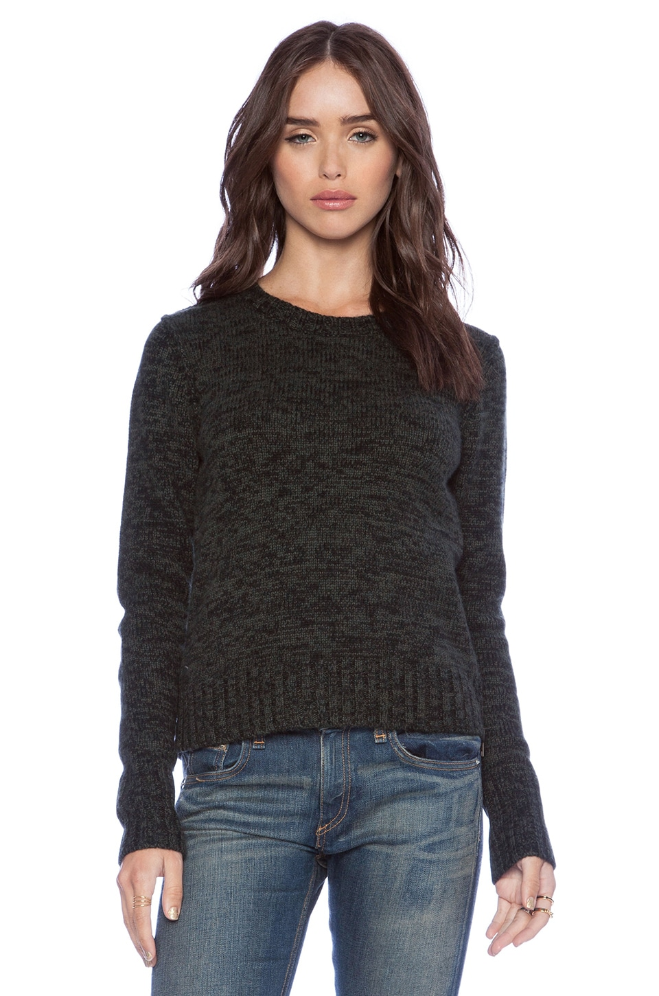 Autumn Cashmere Tweed Crew with Elbow Patches in Moss & Black