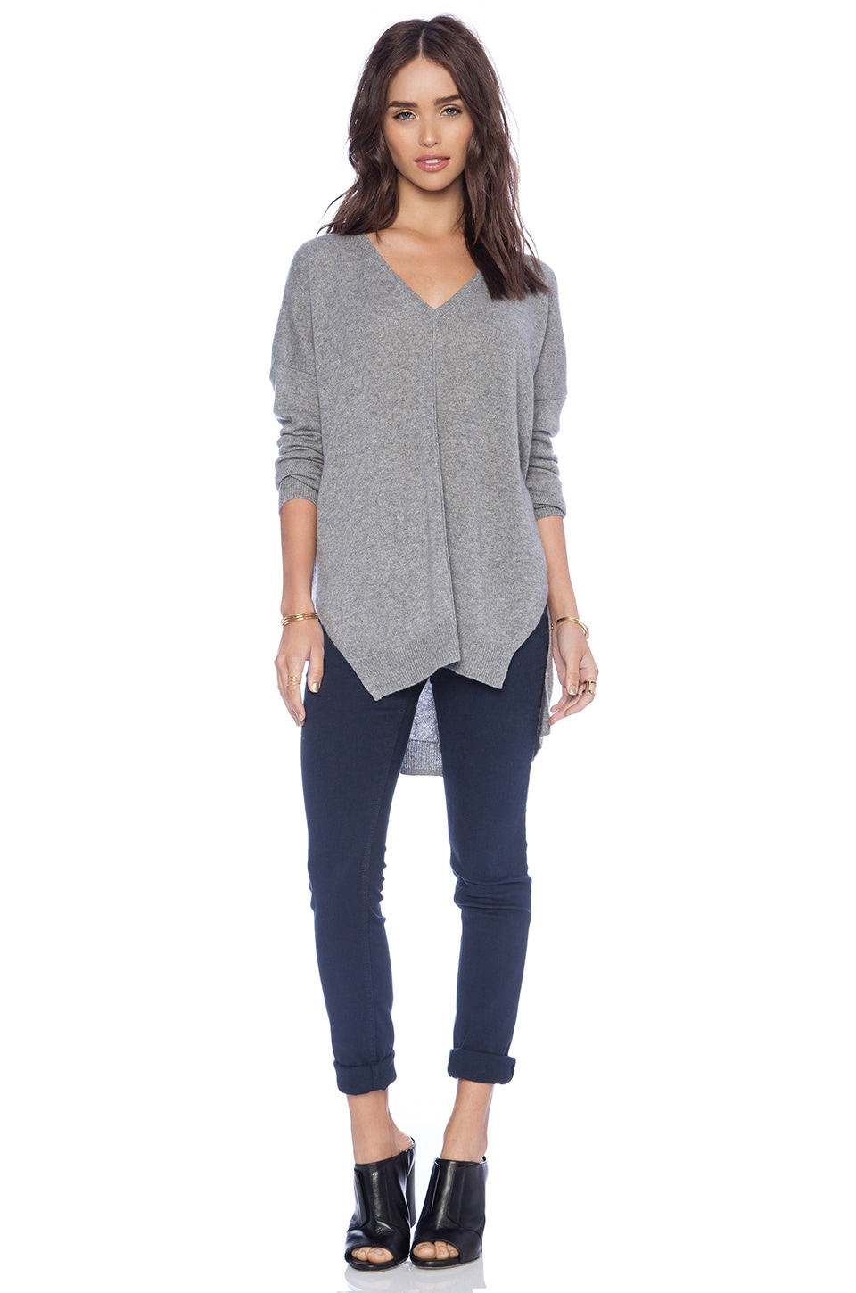 Autumn Cashmere Hi Lo Slashed Sweater in Cement
