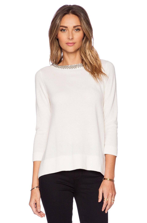 Autumn Cashmere Jeweled Neck Trapeze Sweater in White