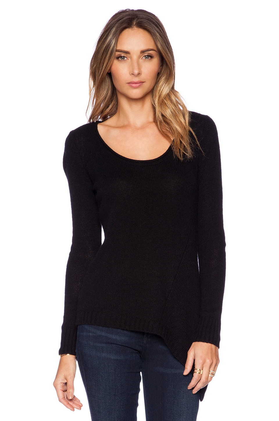 Autumn Cashmere Asymmetric Scoop Neck Sweater in Black
