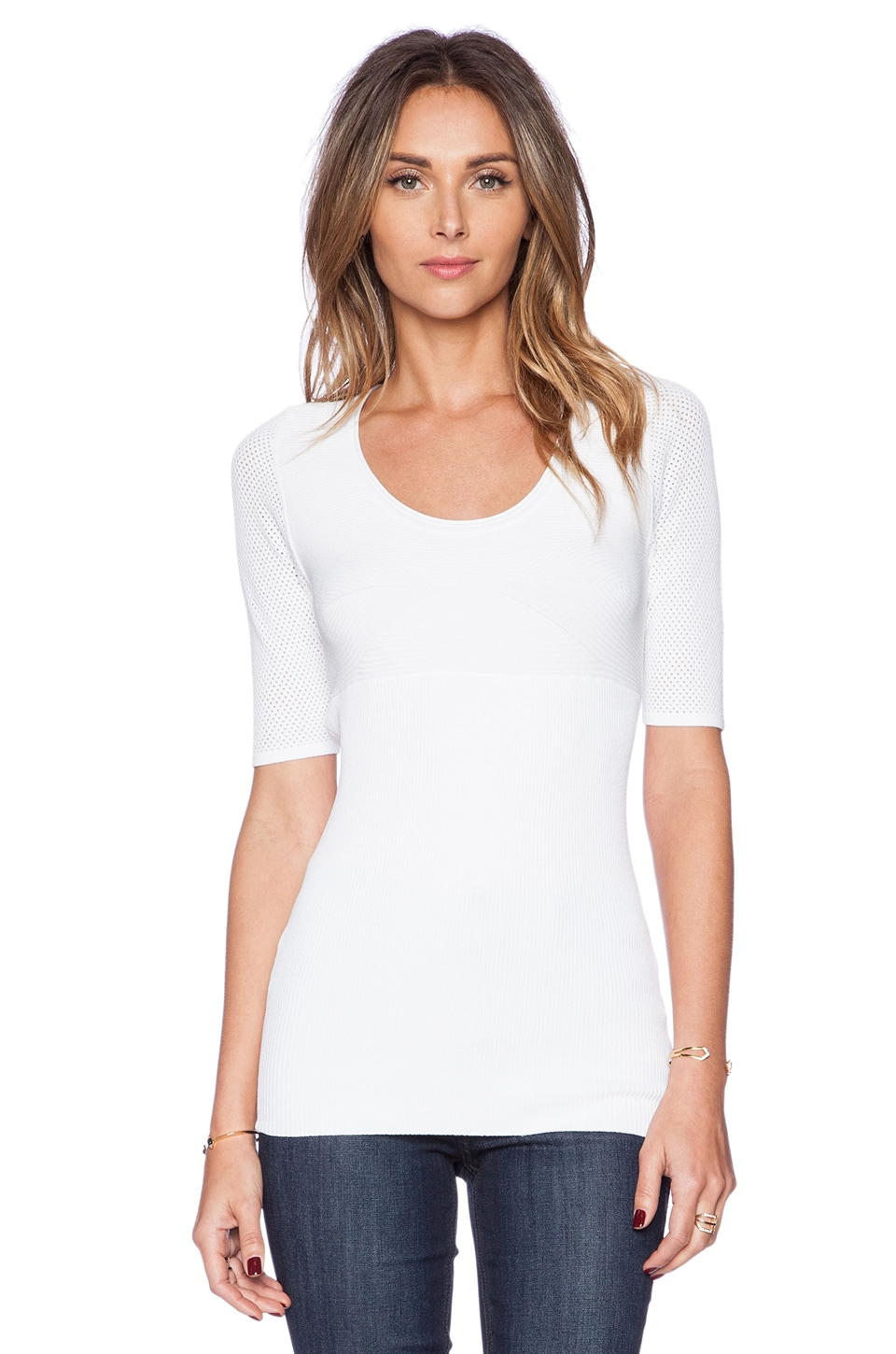 Autumn Cashmere Ribbed Scoop Sweater in White