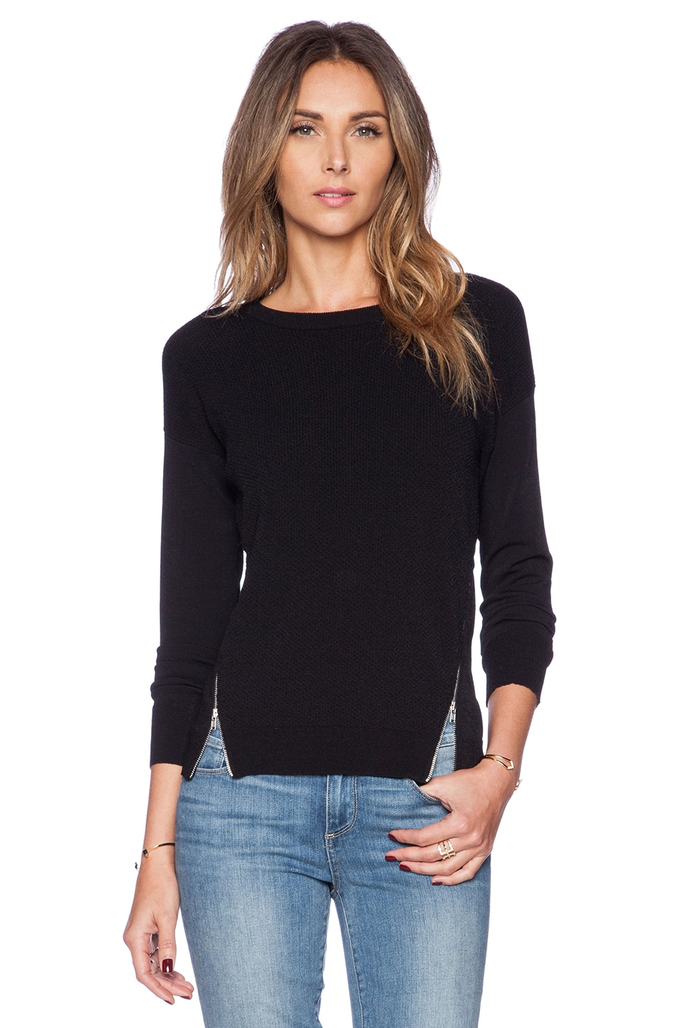 Autumn Cashmere Zipper Texture Sweater in Black