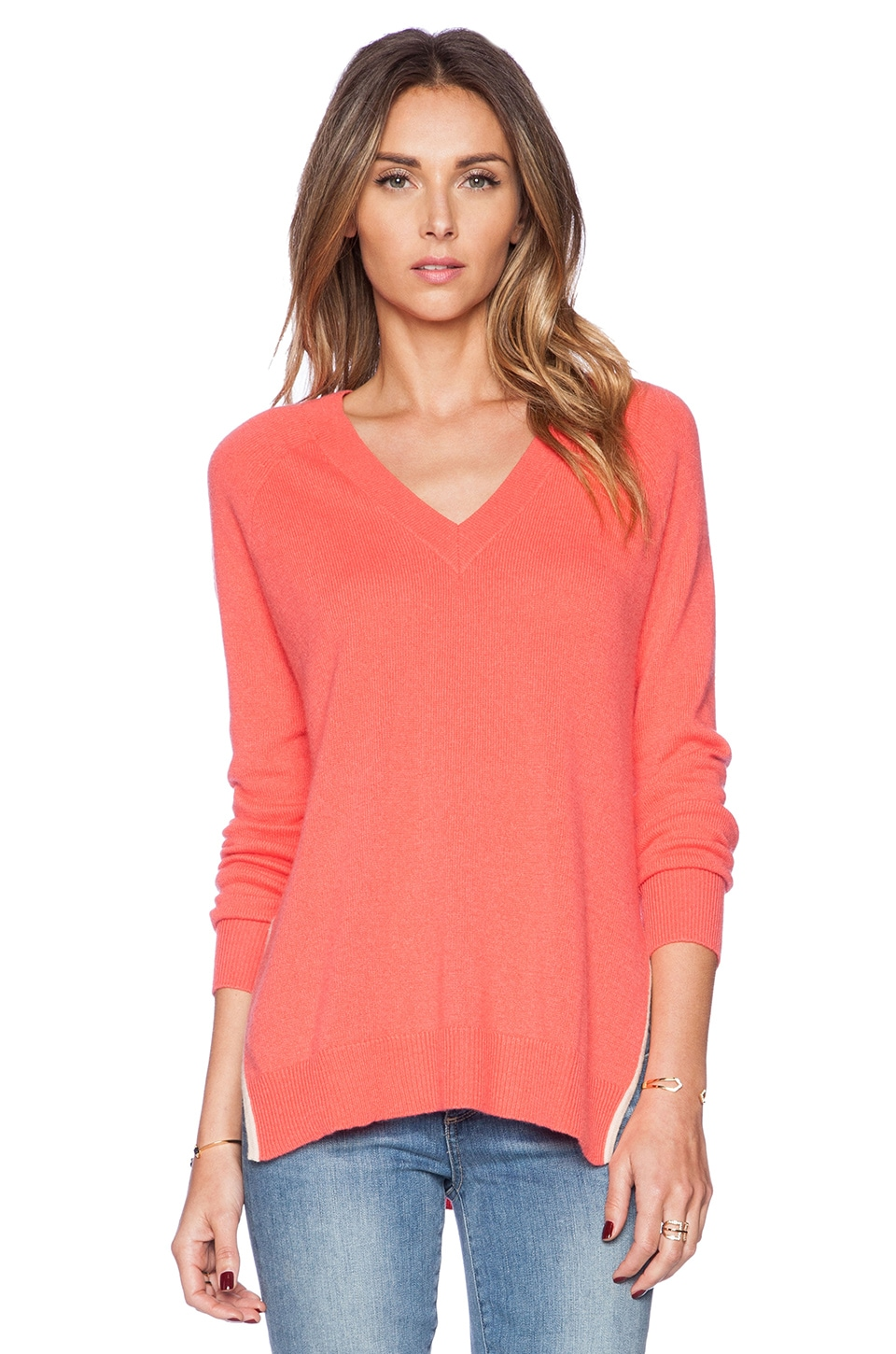 Autumn Cashmere Deep V Tunic in Marmalade & Latte