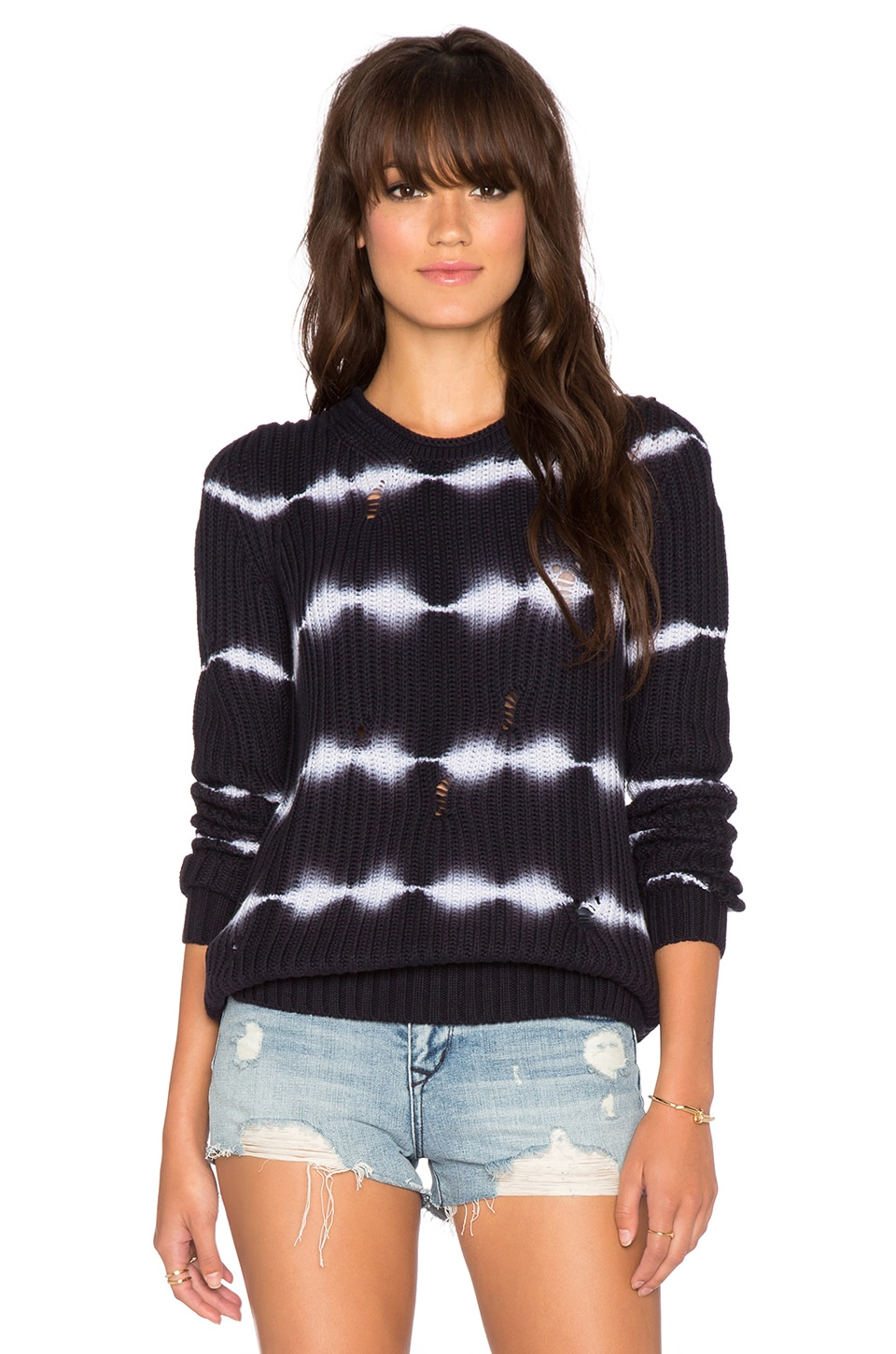 Autumn Cashmere Tie Dye Torn Stitch Crew Sweater in Navy Blue