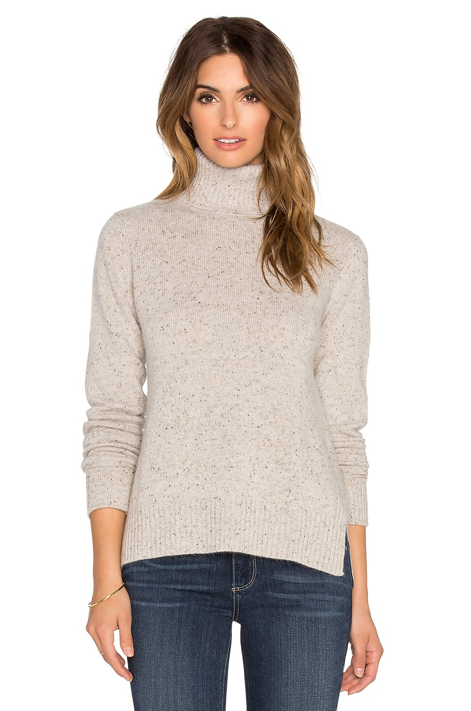Autumn Cashmere Boxy Slit Turtleneck Sweater in Pebble