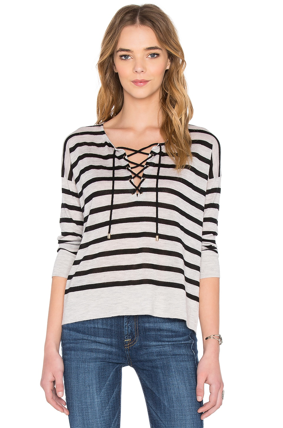 Stripe Lace Up Sweater
