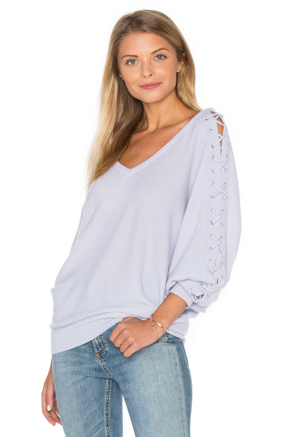 Double V Laced Dolman Sweater by Autumn Cashmere