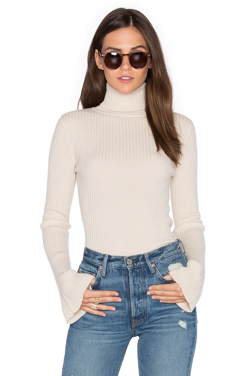 Autumn Cashmere x REVOLVE Ribbed Turtleneck Bell Sleeve Sweater in Cream
