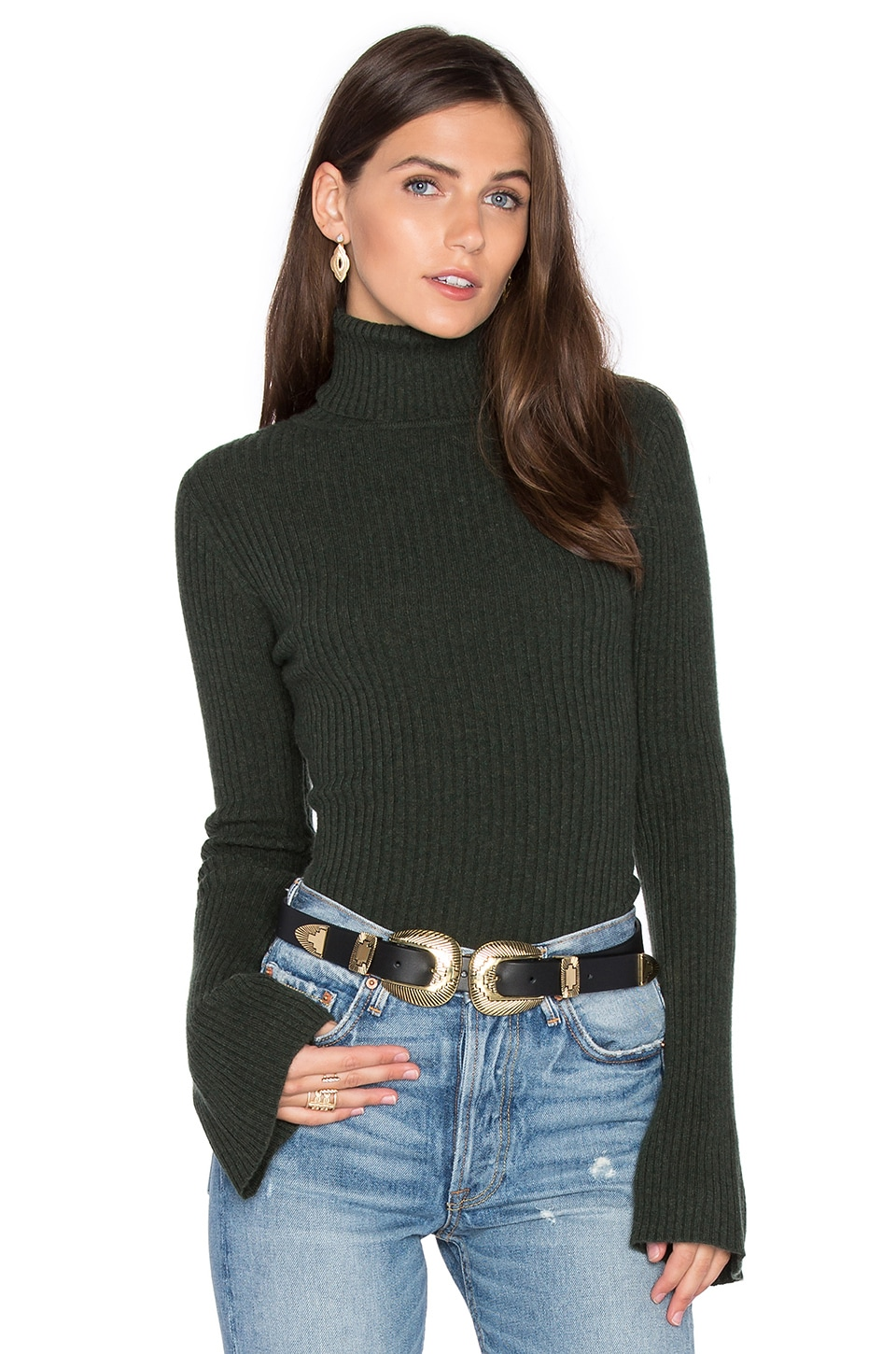 Autumn Cashmere x REVOLVE Ribbed Turtleneck Bell Sleeve Sweater in Kelp