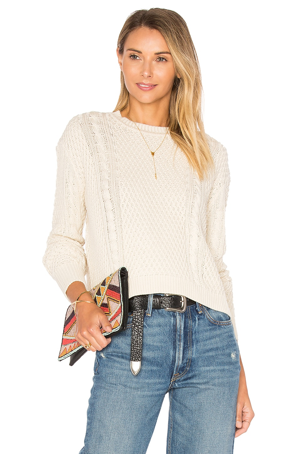 Boxy Cable Crew Neck Sweater by Autumn Cashmere