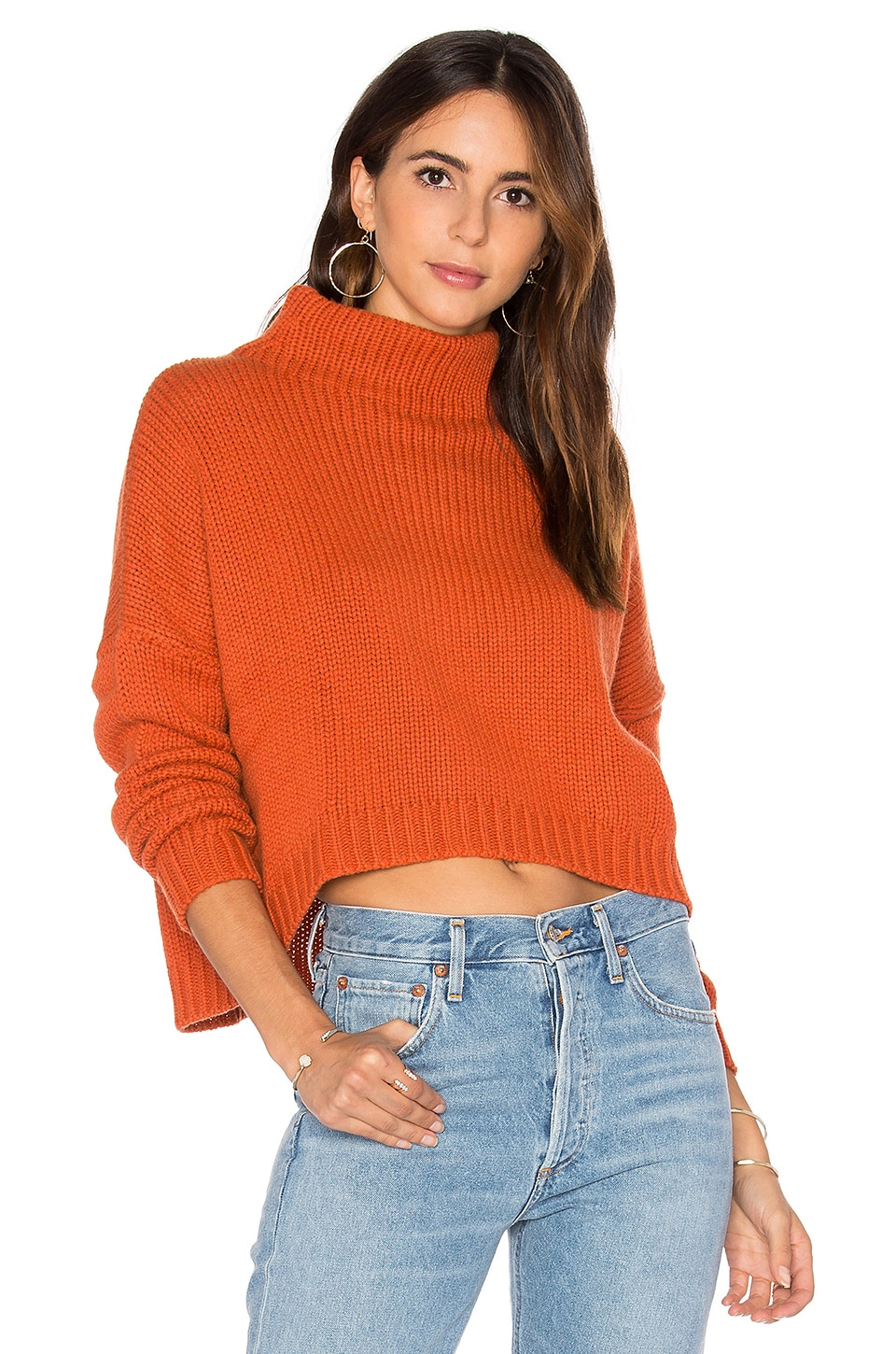 Autumn Cashmere Funnel Neck Sweater in Henna