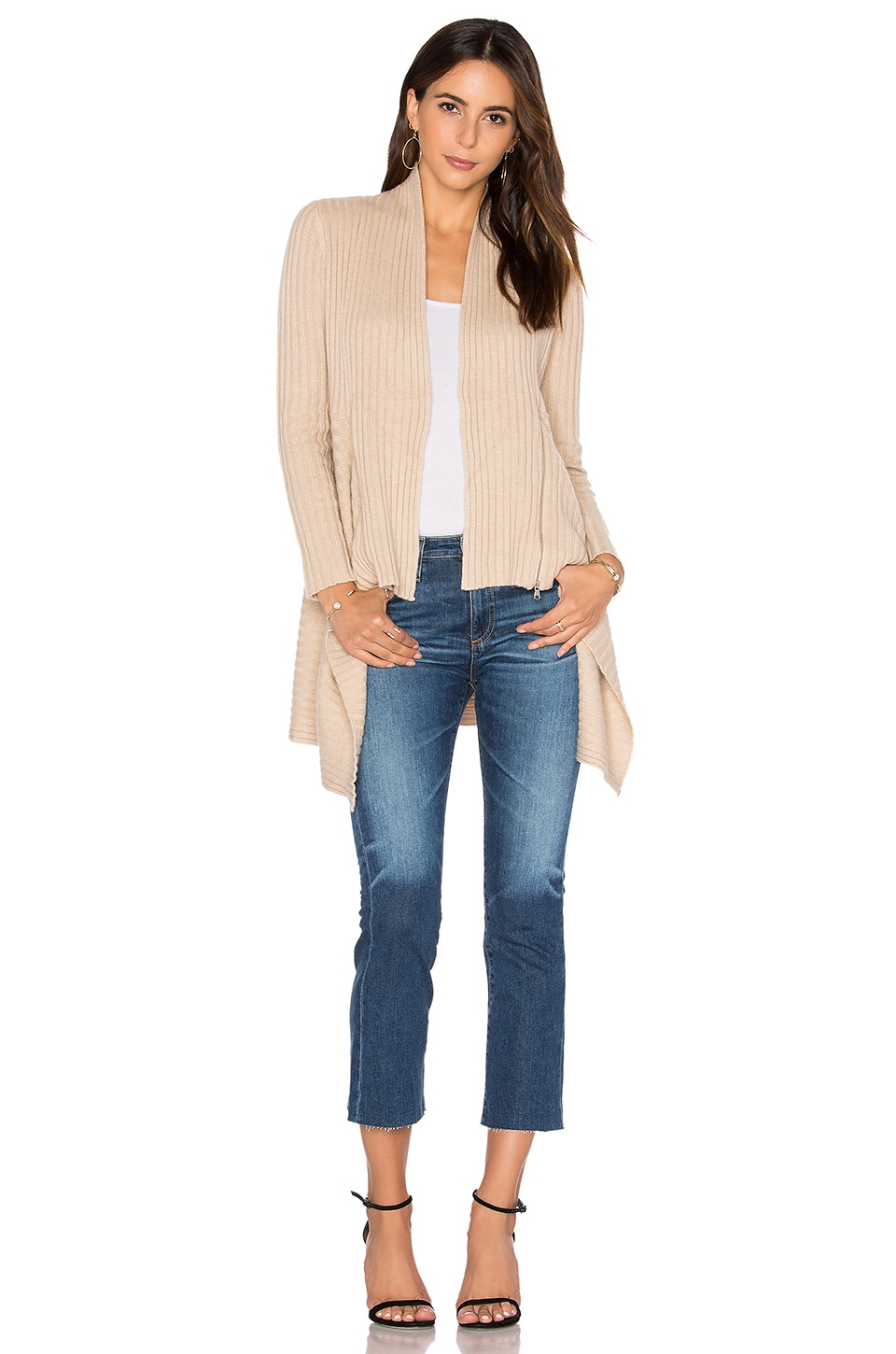 Autumn Cashmere Zip Rib Drape Cardigan in Buff